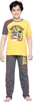 Punkster Boy's Graphic Print Yellow, Grey Top & Pyjama Set