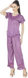 Ignis Women's Solid Top & Pyjama Set