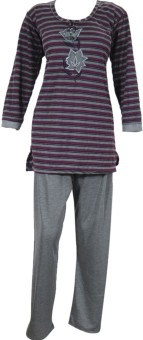 Indiatrendzs Women's Striped, Solid Top & Pyjama Set: Night Suit
