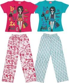 Dearkids Girl's Printed Multicolor Top & Pyjama Set