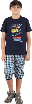 Meril Boy's Printed Blue T-shirt & Three-forth Set