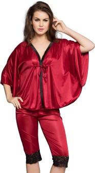 Clovia Navy Cami With Lace Women's Solid Maroon Top & Capri Set