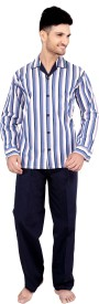 Tatwam Woven Men's Striped Multicolor Top & Pyjama Set