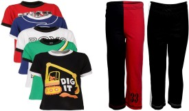 Gkidz Boy's Printed Multicolor T-shirt & Three-forth Set