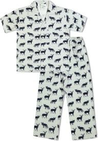 Green Apple Baby Boy's Printed Grey Top & Pyjama Set