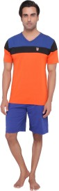 Valentine Men's Solid Orange Top & Shorts Set