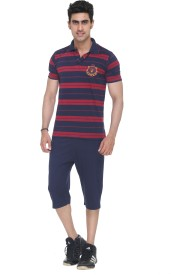Colors & Blends Capri Suit Men's Striped Blue T-shirt & Three-forth Set