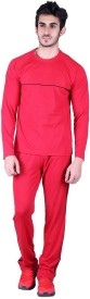 Vivid Bharti Men's Solid Red Top & Pyjama Set