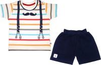 MINI TAURUS Baby Boy's Striped Dark Blue Top & Shorts Set