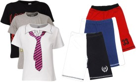 Gkidz Boy's Printed Multicolor Top & Shorts Set