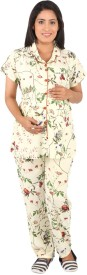 Vixenwrap Women's Floral Print White Top & Pyjama Set