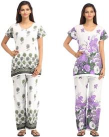 Guru Nanak Fashions Women's Printed Top & Pyjama Set