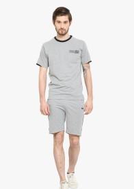 Duke Stardust Men's Solid Grey Top & Capri Set