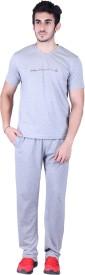 Vivid Bharti Men's Printed Grey Top & Pyjama Set