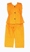 Wajbee WJB Designs Baby Girl's Printed Yellow Top & Pyjama Set