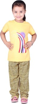 Vivid Bharti Cotton Rich Girl's Printed Top & Pyjama Set