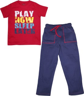 FS Mini Klub Sleepwear Boy's Printed Red Top & Pyjama Set