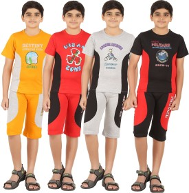 Zippy Boy's Printed Multicolor T-shirt & Three-forth Set