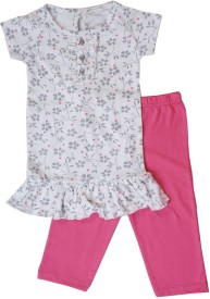 Earth Conscious Girl's Floral Print Pink Top & Pyjama Set