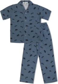 Green Apple Baby Boy's Printed Blue Top & Pyjama Set