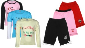 Gkidz Girl's Printed Multicolor Top & Shorts Set