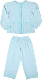 Shoppertree Night Suit Boy's Striped Top & Pyjama Set