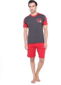 Valentine Men's Solid Top, Pyjama & Shorts Set