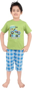 Punkster Boy's Graphic Print Green T-shirt & Three-forth Set