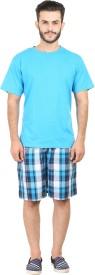 Habitude Men's Solid, Checkered Blue Top & Shorts Set
