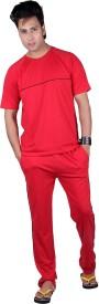 Vivid Bharti Round Neck Brick Red Sinker Cotton Rich Men's Solid Red Top & Pyjama Set