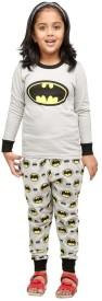Nuteez Girl's Printed Grey Top & Pyjama Set