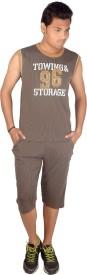 Premium Plus Men's Striped Brown T-shirt & Three-forth Set