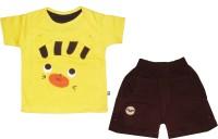 MINI TAURUS Baby Boy's Animal Print Yellow Top & Shorts Set