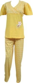 Indiatrendzs Night suit Women's Solid, Polka Print Top & Pyjama Set: Night Suit