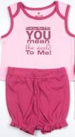 Bio Kid SHORT PYJAMA - ORCHID PINK TOP & ROSE WINE Baby Girl's Printed Top & Shorts Set