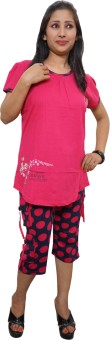 Indiatrendzs Women's Printed Pink, Black Top & Capri Set
