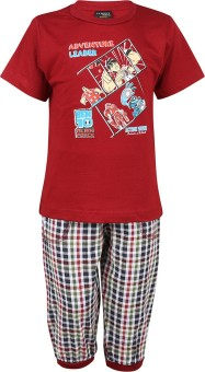Meril Boy's Printed Maroon T-shirt & Three-forth Set