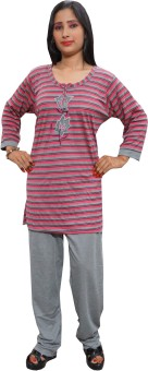 Indiatrendzs Night Suit Women's Striped Top & Pyjama Set