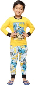 Nuteez Boy's Printed Yellow Top & Pyjama Set