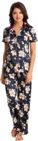 PrettySecrets Women's Floral Print Dark Blue Top & Pyjama Set