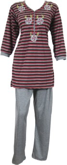 Indiatrendzs Night Suit Women's Striped, Embroidered Top & Pyjama Set: Night Suit