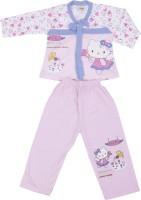 NATKHAT Baby Girl's Animal Print Pink Top & Pyjama Set