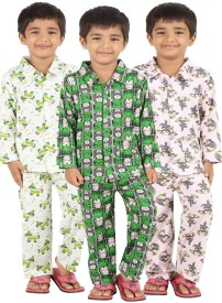 Meril Boy's Graphic Print Dark Green, Green, Pink Top & Pyjama Set