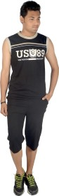 Premium Plus Men's Solid Black T-shirt & Three-forth Set