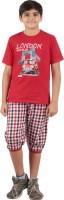 Meril Baby Boy's Printed Red T-shirt & Three-forth Set