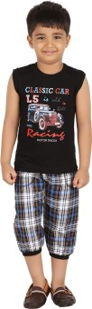 Meril Boy's Printed Black T-shirt & Three-forth Set