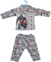 Baby Bucket Baby Boy's Printed Black Top & Pyjama Set