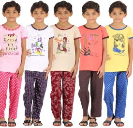 Meril Girl's Graphic Print Orange, Yellow, Beige, White, Pink Top & Pyjama Set