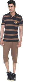 Colors & Blends Capri Suit Men's Striped Brown T-shirt & Three-forth Set