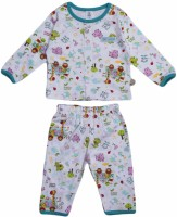 Toffy House Baby Girl's Printed White Top & Pyjama Set